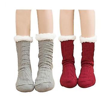 Ladies Foot Warmer Soft Socks Winter Warm Cotton Socks Household Foot Warmer(Red)