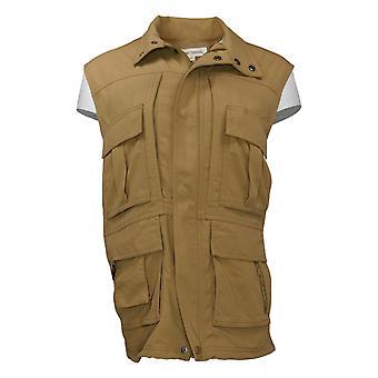 Grunnleggende alternativer Kvinners 15 Pocket Travel Zip Front Vest Beige 550886
