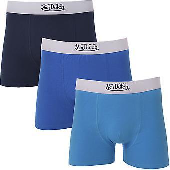 Von Dutch Men Solid 3 Pack Elasticated Boxer Trunks Underwear Boxers - Multi