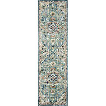 2' x 8' Light Blue and Ivory Distressed Runner Rug