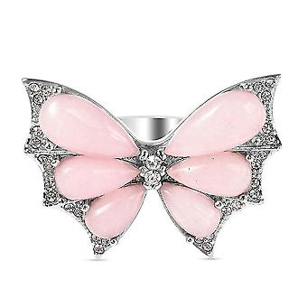 Butterfly Ring for Women Howlite and Crystal Animal Lover Gift in Steel 9.95ct(Q)