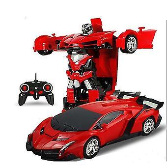 Rc transformers lamborghini coche robot vehículo deportivo para niños (Rojo)