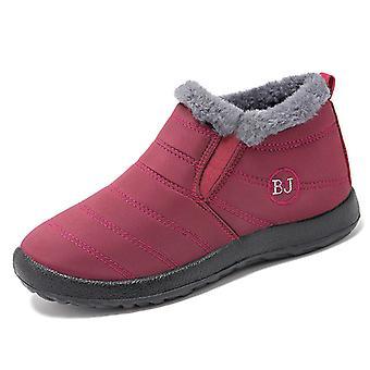 أحذية الثلج المرأة الشتاء الحفاظ على أحذية الكاحل الدافئة زلة للماء على بالإضافة إلى الأحذية المسطحة المخملية