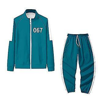 Unisex Cosplay Squid Game Round Six Full Zip Stand Collar Jacket And Pants Tracksuit 2-piece Sets Outfits