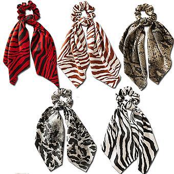 hår scrunchie, 5pc sateng leopard sebra elastisk hestehale holder for kvinner jente, reise skole