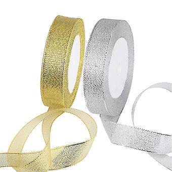 Ribbon, 2 Pcs Organza Ribbons For Christmas Thanksgiving Gift Craft, Gold And Silver