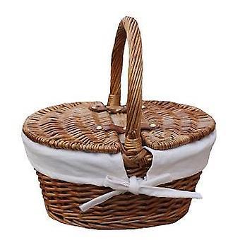 Childs leicht gedämpfte Finish weiß gefüttert Oval Picknick-Korb