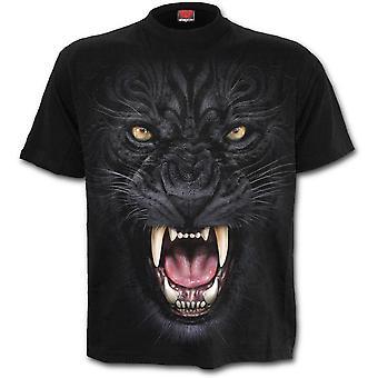 Spiraal-Tribal Panther-mannen zwart korte mouw t-shirt