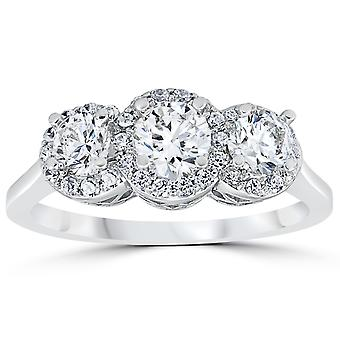 1ct Pave Halo Three Stone Diamond Ring 14K White Gold