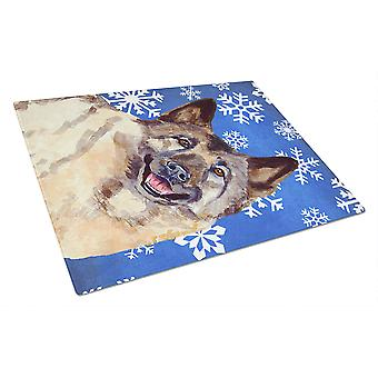 Norwegian Elkhound Winter Snowflakes Holiday Flag Glass Cutting Board Large LH93