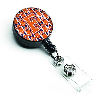 Letter F Football Orange, White and Regalia Retractable Badge Reel