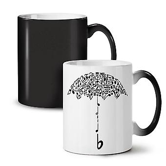 Umbrella Note Music Music NEW Black Colour Changing Tea Coffee Ceramic Mug 11 oz | Wellcoda