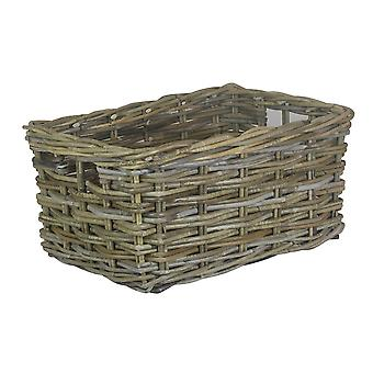 Medium Rectangular Grey Rattan Storage Basket