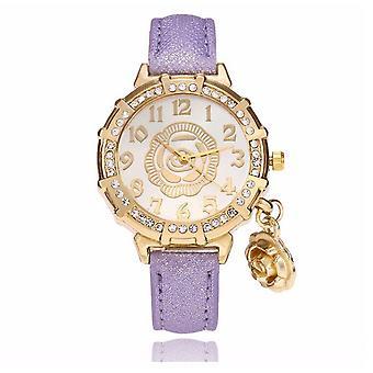 Chic fleur or jaune Watch luxe pierres élégant temps pourpre