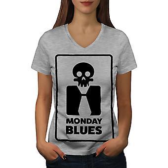 Monday Blues Funy Women GreyV-Neck T-shirt | Wellcoda