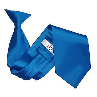 Elektrisk blå ren sateng klippet på slips