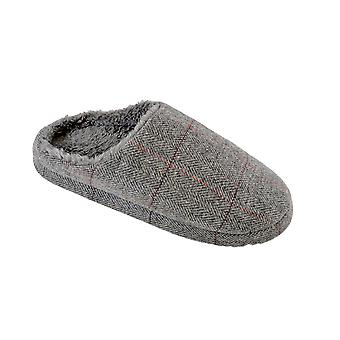 SlumberzzZ Mens Checked Upper And Faux Fur Insole Mule Slipper