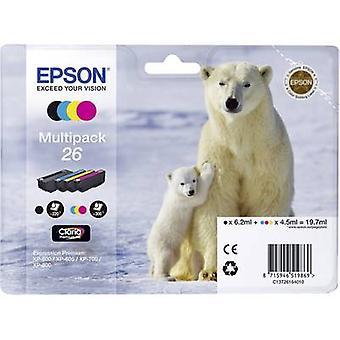 Epson inkt T2616, 26 origineel Set zwart, cyaan, Magenta, gele C13T26164010