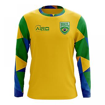 2020-2021 Brazil Long Sleeve Home Concept Football Shirt (Kids)