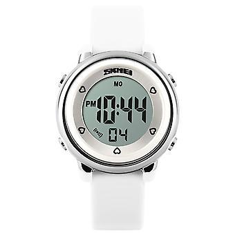 Skmei Mädchen weiße Digitaluhr 50m wasserdicht mit Stoppuhr Alarm Alter 5 + DG1100