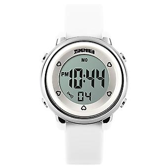 Chicas de SKMEI blanco reloj Digital 50m resistente al agua con cronómetro alarma edades 5 + DG1100