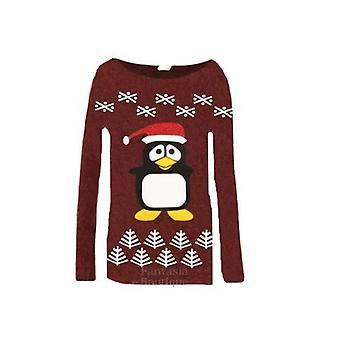 Dla dzieci długi rękaw Christmas Pingwin skrzyć Glitter Kid's ciepły sweter Top