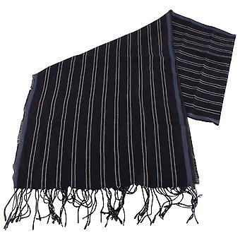 バッサン、茶色マラドーナ ストライプ スカーフ - ネイビー/ブルー