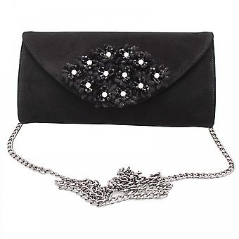 Peter Kaiser Black Suede Leather Floral Clutch Bag