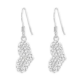 Heart - 925 Sterling Silver Crystal Earrings - W19437X
