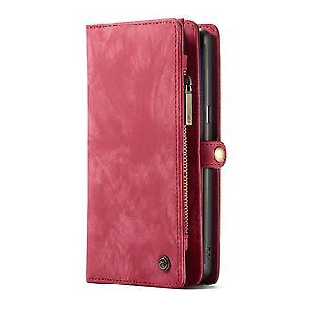 CASEME Samsung Galaxy Note 9 Retro läder plånboksfodral Röd