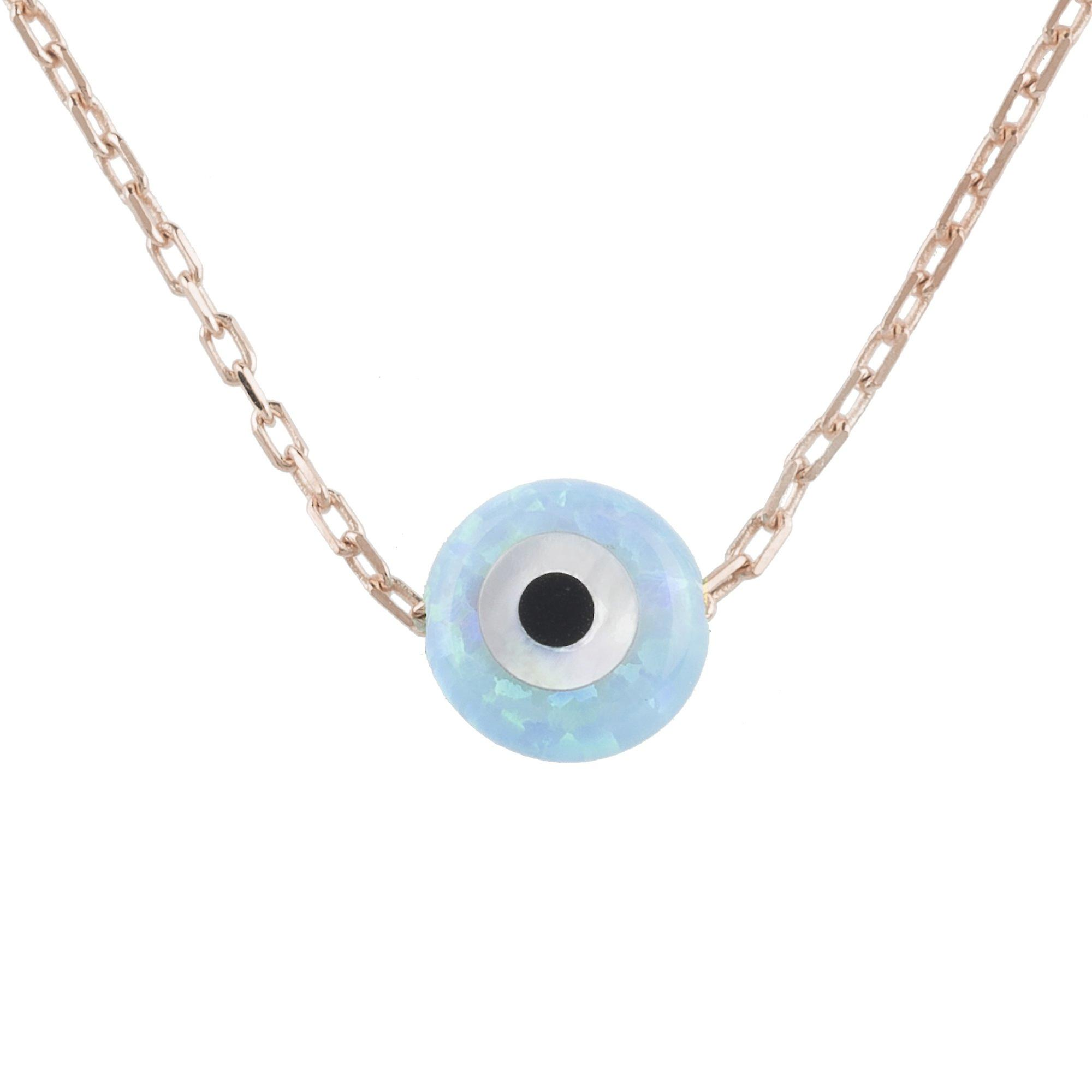 Latelita Small Mini Evil Eye Pendant Necklace Opal Blue 925 Silver Rose Gold