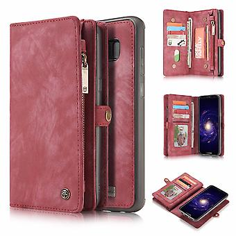 CASEME Samsung Galaxy S8 Retro leather wallet Case-red