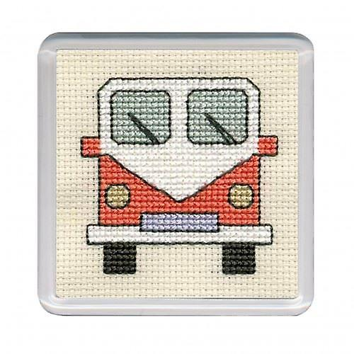 Textile Heritage Counted Cross Stitch Campervan Coaster Orange