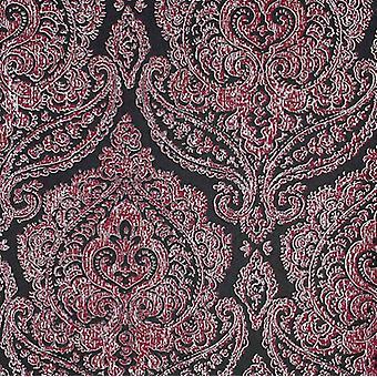 Damask Wallpaper Kenneth James Black Pink Metallic Silver Luxury Classic