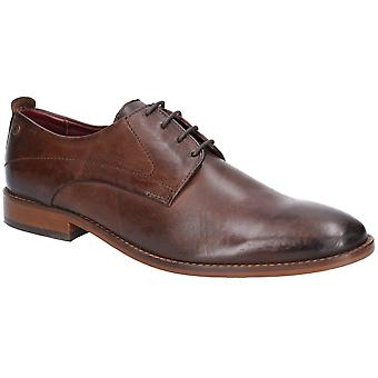 Base London Mens Script Washed Lace Up Leather Shoes