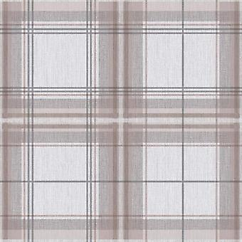 Country Check Stag Tartan Animal Print Wallpaper Woven Effect Chequered
