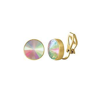 Eternal Collection Treasure Aurora Borealis Crystal Gold Tone Stud Clip On Earrings