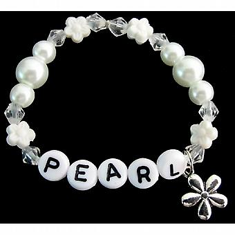 Bebé niña nombre pulsera blanco perlas flor abalorios espaciador