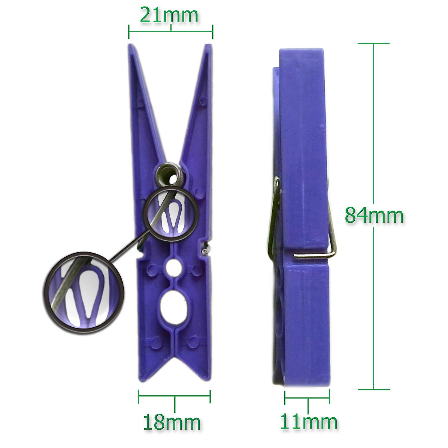 Simply Direct Blue Strong Big Robust Plastic Clothes Washing Line Pegs/Clips - 8.5cm Long - Also Useful for Arts and Crafts