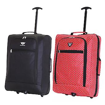 Slimbridge Montecorto Set of 2 Cabin Luggage Bags, (Set of Black and Red Dots)