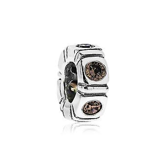 Pandora Northern Light Silver & Brown CZ Trinity Spacer 790368BCZ