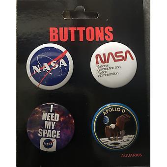 NASA sæt med 4 knap badges (nm)