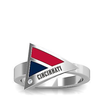 Anillo de diamantes rojos de Cincinnati en diseño de plata de ley por BIXLER