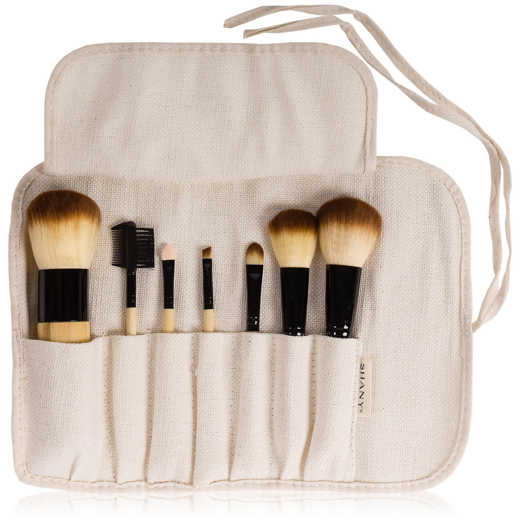 SHANY Bamboo Brush Set - Vegan Brushes With Premium Synthetic Hair & Cotton Pouch - 7pc