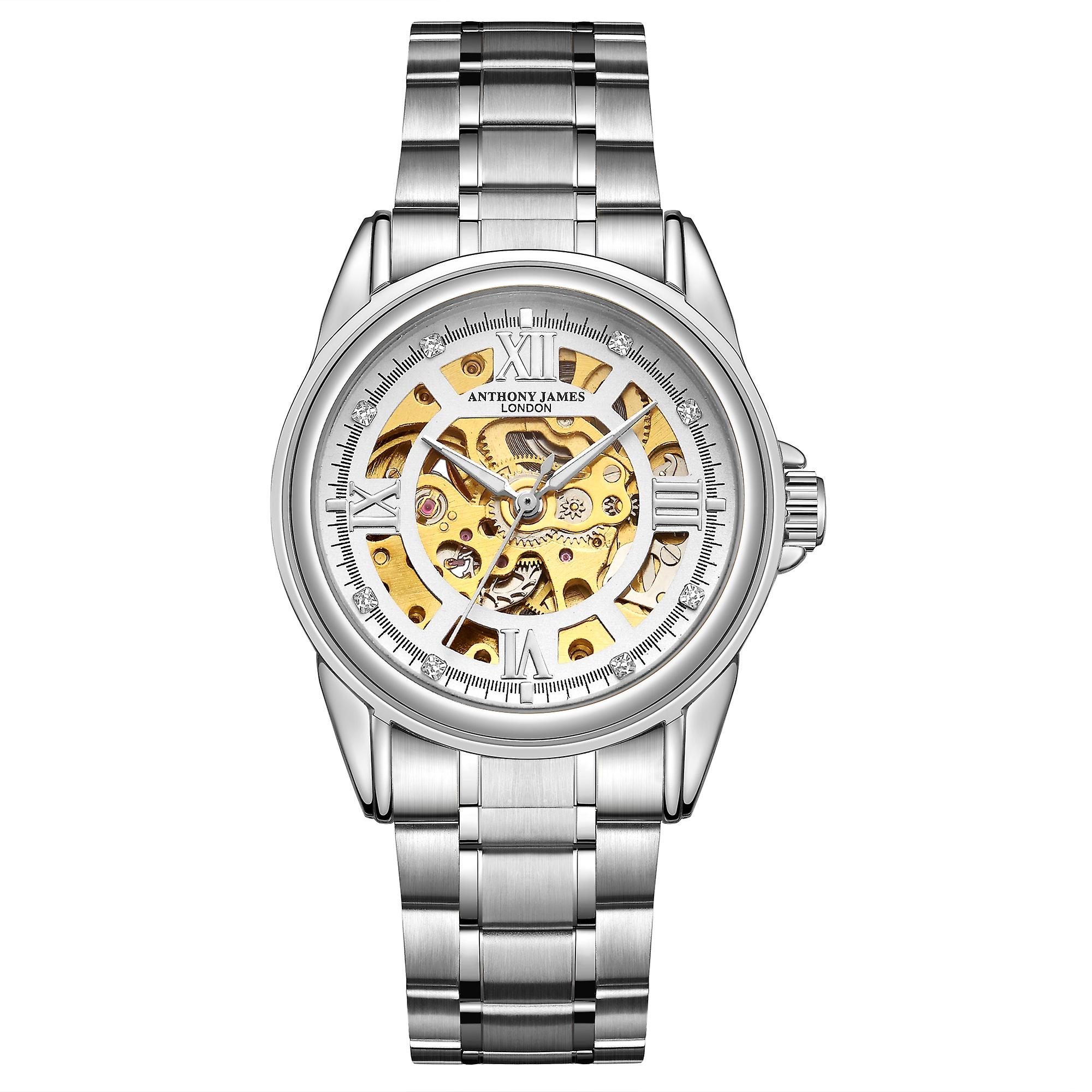 Hand Assembled Anthony James Limited Edition Skeleton Automatic Steel & White Mens Watch – 5 Year Warranty