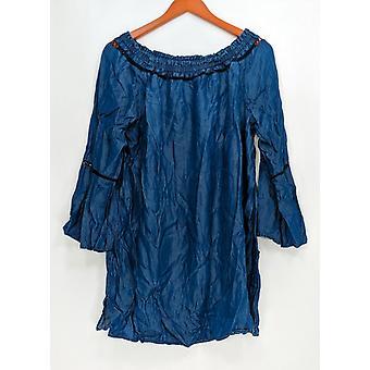 Du Jour Women's Top Off the Shoulder Bell Sleeve Dark Blue A293734
