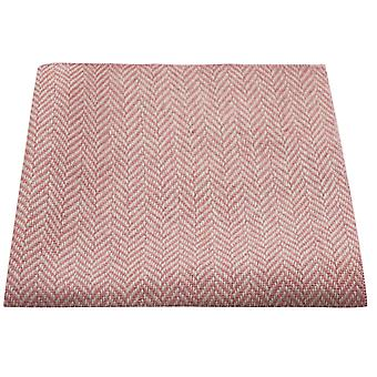 Candy Pink & Cream Herringbone Pocket Square, Handkerchief