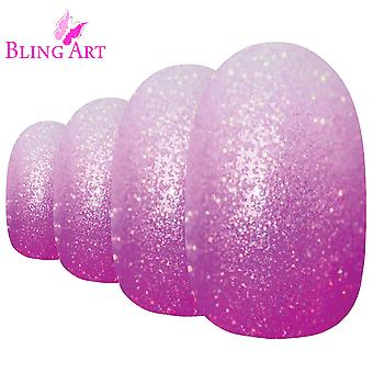 False nails by bling art magenta gel ombre oval medium fake acrylic 24 tips