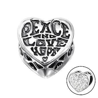 Heart Love - 925 Sterling Silver Jewelled Beads - W10519x