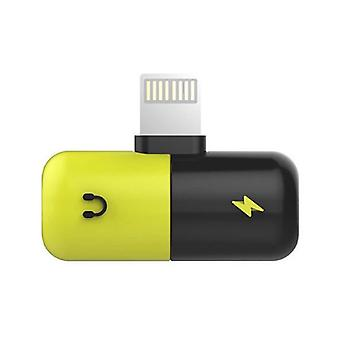 !ACEZZ iPhone Lightning Charger + Headphone Audio Splitter Yellow